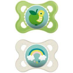 זוג מוצצי סיליקון ירוק (0-6 חודשים)