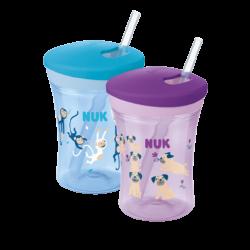 כוס מעבר Action Cup עם קשית גמישה ללא נזילות לפעוטות מגיל 12 חודשים ומעלה (צבע לבחירה)